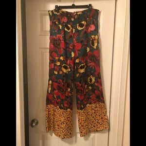 Anthropology silk lounging pants size large